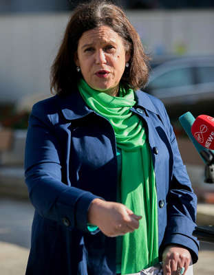 Mary Lou McDonald wearing a green shirt: Sinn Féin may get away with theatrics like Thursday's walkout for a while. They may even take power. But as Barbarossa shows us, freedom and the urge to defend the homeland are powerful things. Photo:Gareth Chaney/Collins