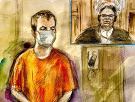 a man standing in front of a mirror posing for the camera: Nathaniel Veltman faces four counts of first-degree murder and one count of attempted murder. Crown prosecutors allege each charge constituted an act of terrorism.