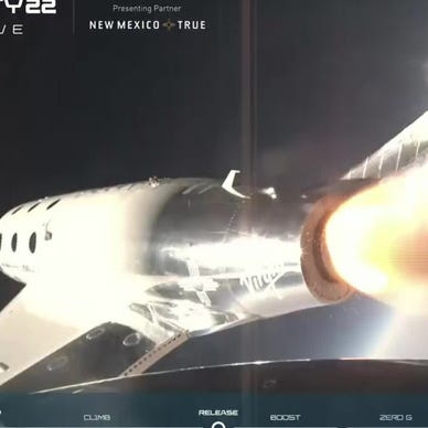 graphical user interface, application, website: Virgin Galactic space plane carrying billionaire Richard Branson reaches edge of space
