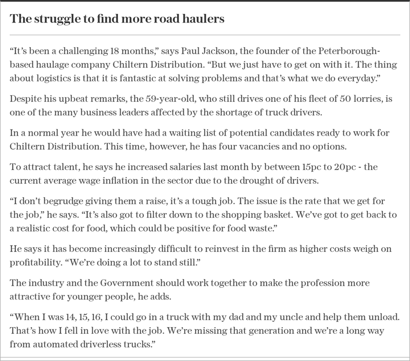 text, letter: The struggle to find more road haulers