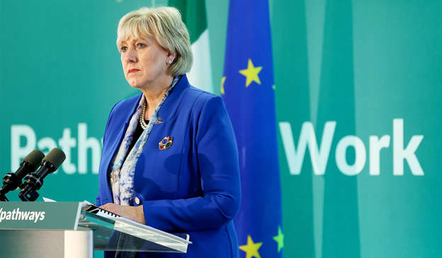 Heather Humphreys standing in front of a stage: Minister for Justice Heather Humphreys commented on the seizure Pic: MAXWELLS