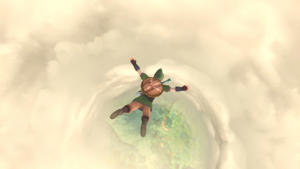 a man flying through the air while riding a wave: Falling through the clouds! This happens a lot. Nintendo