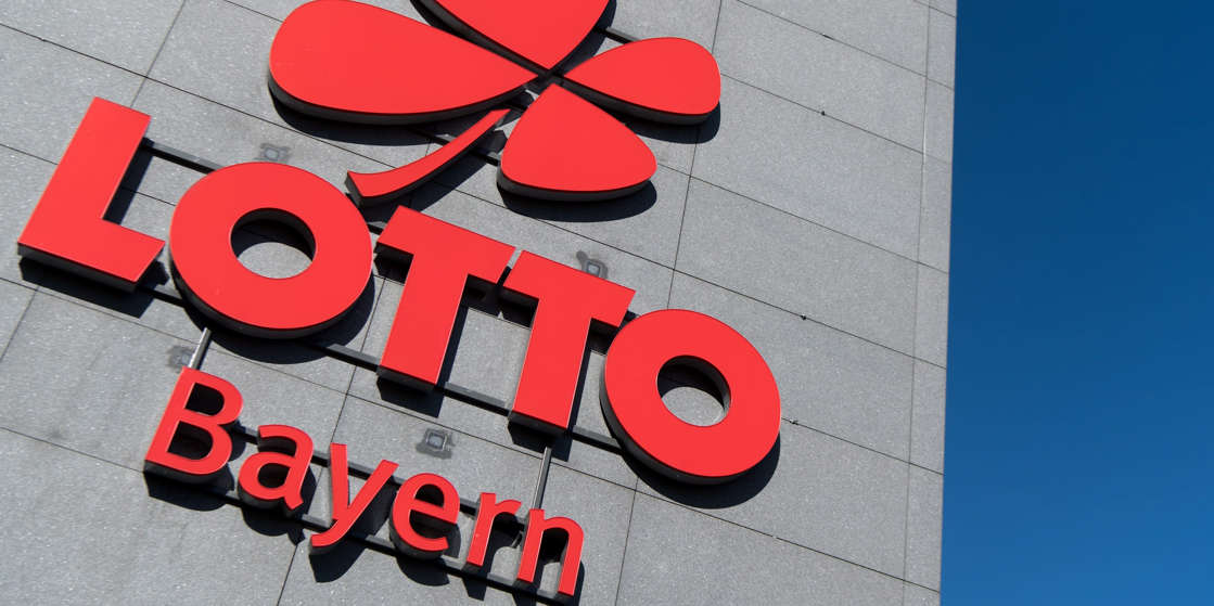 """The logo and the lettering """"Lotto Bayern"""" can be seen at the company building of the Lotto headquarters. Sven Hoppe/picture alliance via Getty Images"""