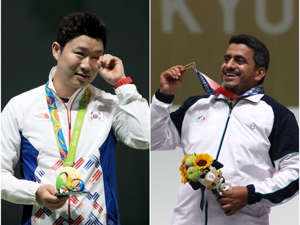Jin Jong-oh et al. around each other: Javad Foroughi was labelled a terrorist after winning gold Sam Greenwood/Getty Images and Kevin C. Cox/Getty Images