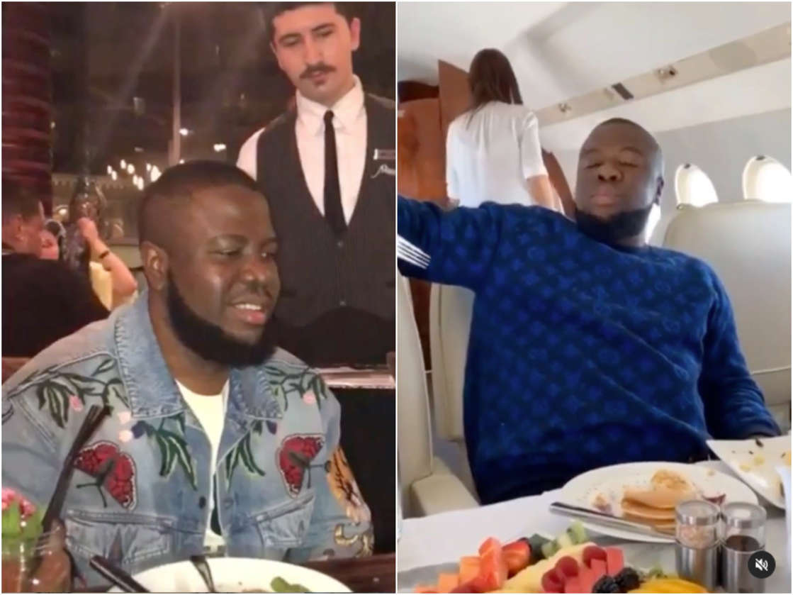 a group of people sitting at a table with food: Ramon Abbas AKA Hushpuppi documented his trips to expensive restaurants and private jets. Instagram/Hushpuppi