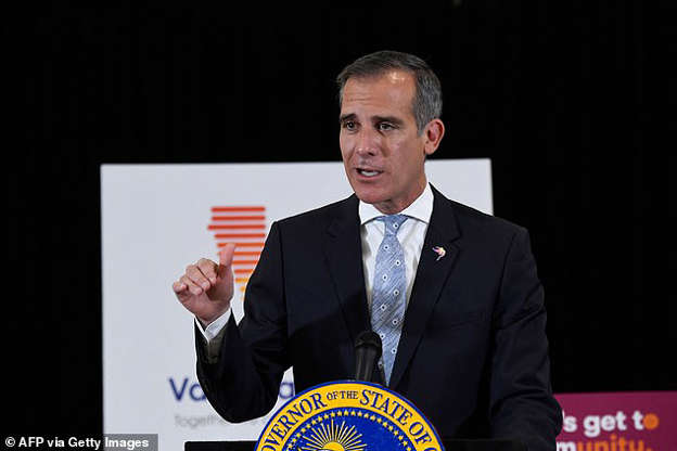Eric Garcetti wearing a suit and tie: Los Angeles Mayor Eric Garcetti recently signed into law an ordinance that criminalizes homelessness in most parts of the city