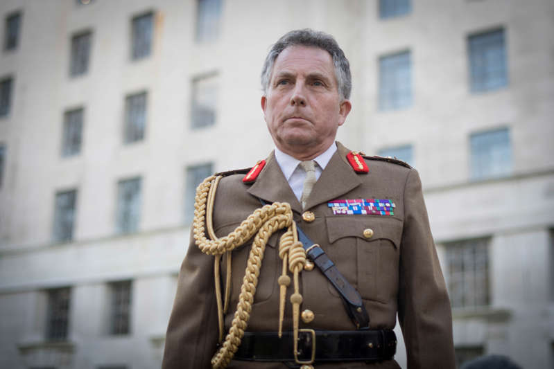 Chief of Defence Staff General Sir Nick Carter outside the MOD headquarters in Westminster, London (Photo by Stefan Rousseau/PA Images via Getty Images)