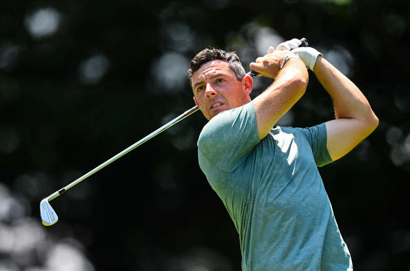 Rory McIlroy of Ireland watches his teee shot on the fourth hole during round 4 of the men's individual stroke play at the Kasumigaseki Country Club during the 2020 Tokyo Summer Olympic Games in Kawagoe, Saitama, Japan. (Photo By Ramsey Cardy/Sportsfile via Getty Images)