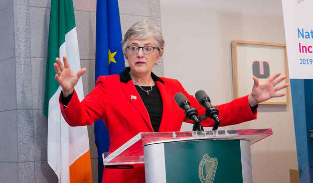 Katherine Zappone standing in front of a building: The Merriongate controversy has strongly eroded public confidence in the Coalition – and Mr Varadkar's popularity. Pic: Gareth Chaney/Collins