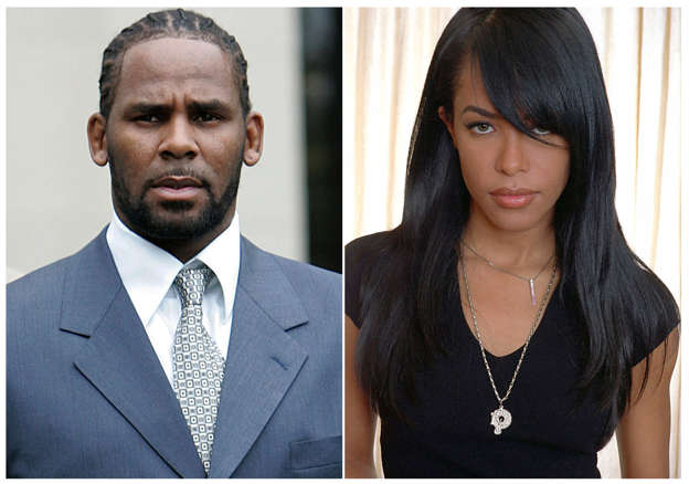 R. Kelly, Aaliyah are posing for a picture: This combination photo shows singer R. Kelly in Chicago on May 9, 2008, and late R&B singer Aaliyah in New York on May 9, 2001.