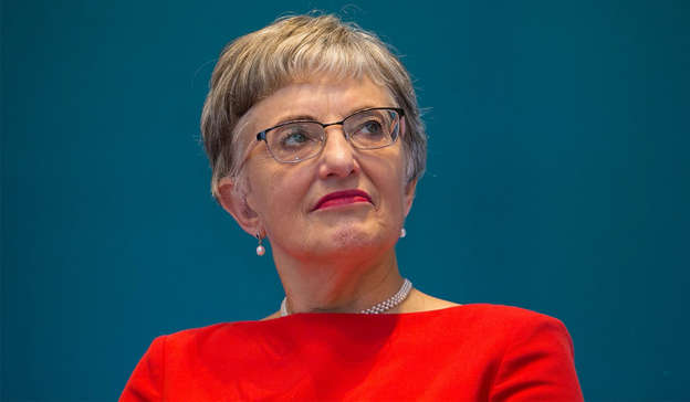 Katherine Zappone wearing a blue shirt: Evidence is emerging that mandarins in Minister Simon Coveney's Department of Foreign Affairs were somewhat less enthusiastic about the appointment than Ms Zappone herself was. Pic: Gareth Chaney/Collins Photos