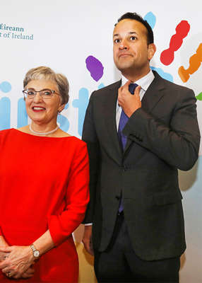 Katherine Zappone, Leo Varadkar posing for the camera: Fianna Fáil's accelerating leadership crisis comes against a backdrop of rising internal tensions within Coalition partners Fine Gael. Pic: Leah Farrell/RollingNews.ie