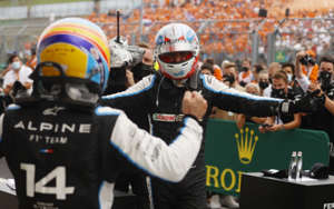 a group of people wearing costumes: Fernando Alonso and Esteban Ocon (right) have impressed at Alpine (Photo: Reuters)