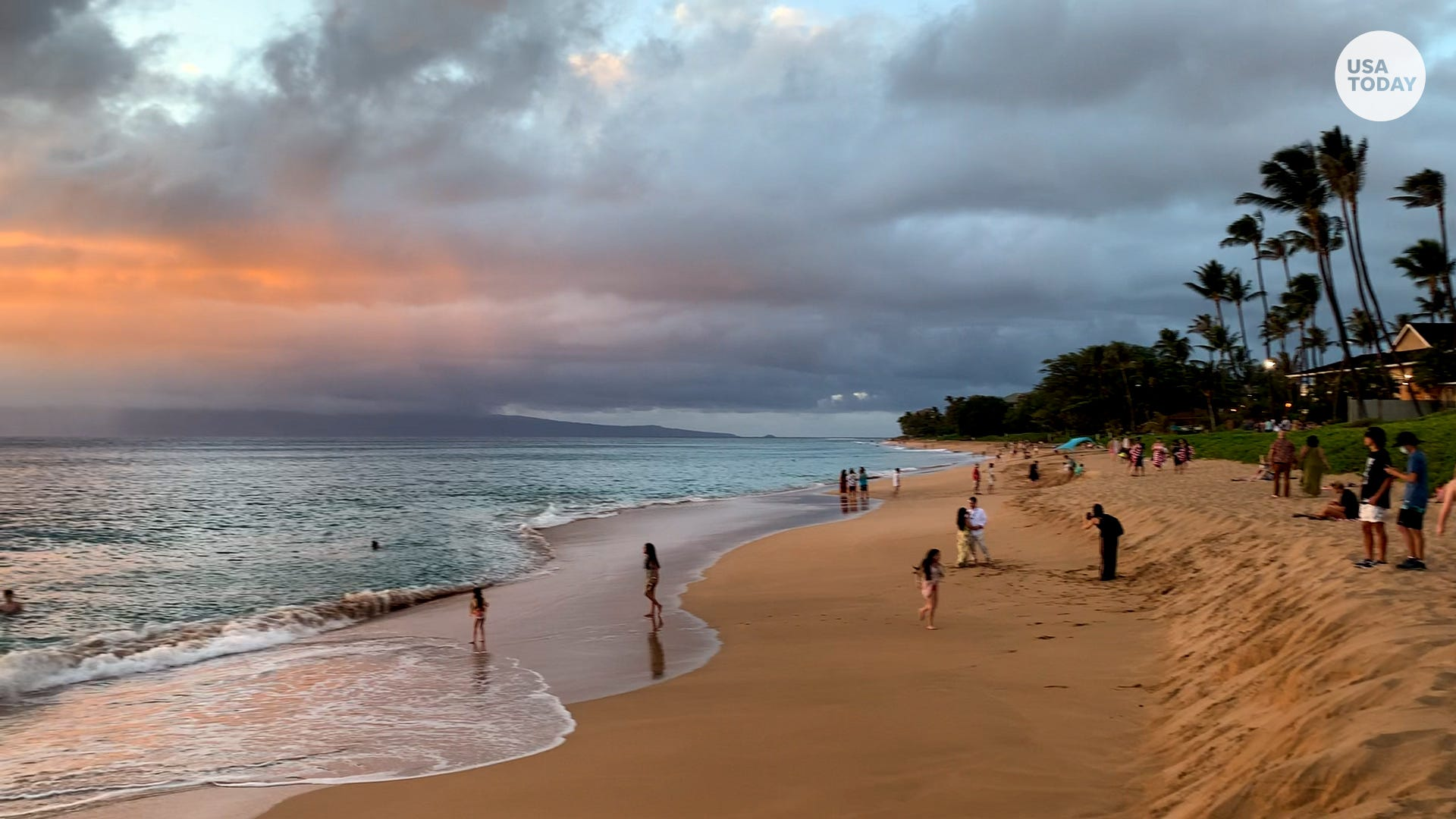 a group of people on a beach near a body of water: 4 (tie). Maui, Hawaii:83%increase in demand