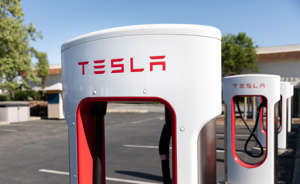 Tesla supercharger stations let Tesla drivers charge their electric vehicles.