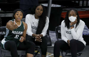 """Erica Ogwumike is competing for Nigeria """"for my sisters"""" after petitions by Chiney, middle, an Nneka, right, were denied by FIBA."""