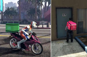 a motorcycle parked on the side of a building: Malaysian Gamer Creates A Mod For 'GTA 5' That Lets You Play As A Food Delivery Rider
