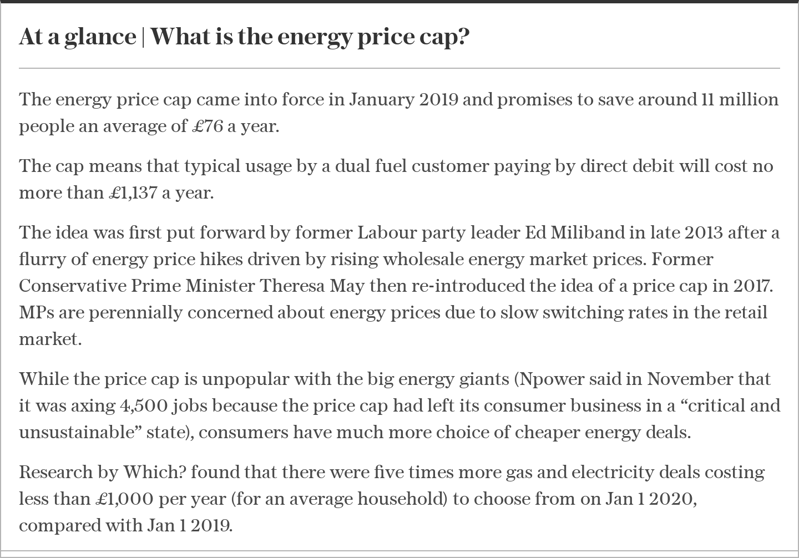 text, letter: At a glance | What is the energy price cap?