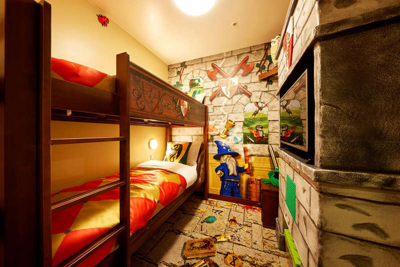 Castle-themed accommodations, complete with bunk beds for kids, are among the room options at the new Legoland Hotel in New York's Hudson Valley.