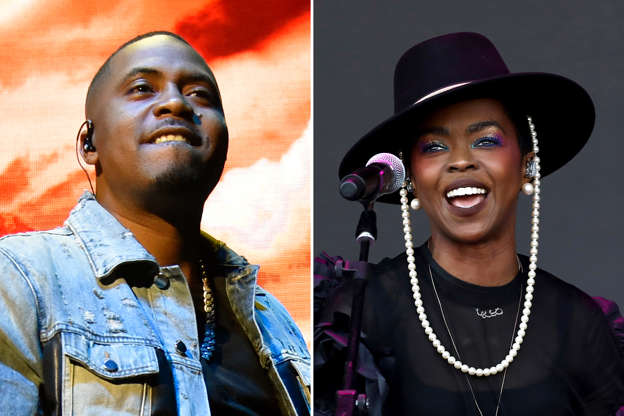 Nas, Lauryn Hill are posing for a picture