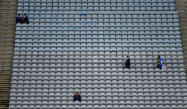 a close up of a traffic light: 7 August 2021; Supporters take their seats, in the Cusack Stand, some two hours before the scheduled start of the GAA Hurling All-Ireland Senior Championship semi-final match between Limerick and Waterford at Croke Park in Dublin. Photo by Ray McManus/Sportsfile