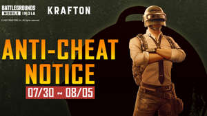 a man wearing a uniform and holding a sign: Krafton Anti Cheat notice for BGMI June to August 2021