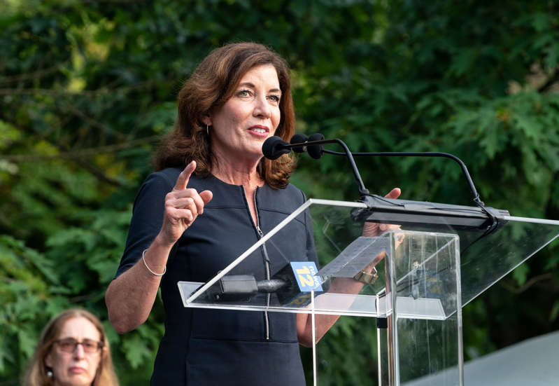 Kathy Hochul holding a microphone: Lieutenant Governor Kathy Hochul speaking at an event in June. Lev Radin/Pacific Press/LightRocket via Getty Images