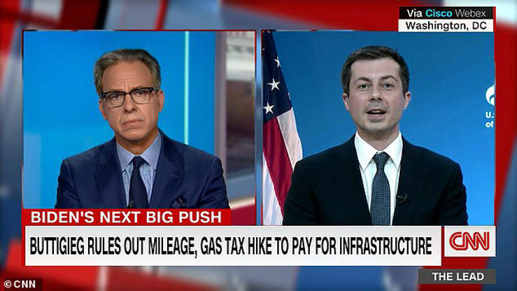 Jake Tapper, Peter Buttigieg are posing for a picture: Transportation Secretary Pete Buttigieg walked back a comment about taxing drivers by the mile in a new infrastructure package in March and insisted they would not be included in the plan