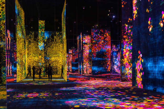 a lit up city at night: The teamLab SuperNature museum in Macau, also shortlisted for the Asia's best tourist destination award. Photo: Getty Images
