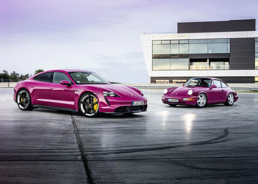 a car parked in a parking lot: The 2022 Porsche Taycan introduces some very rad new colors.