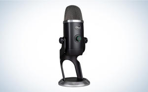 a close up of a microphone: Plug-and-play keeps clutter away.