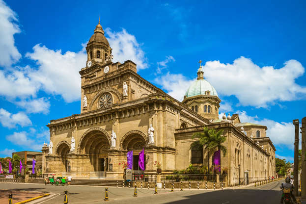a close up of a church: Manila Cathedral in Intramuros, Manila, the Philippines is also in contention for the World Travel Awards best destination prize. Photo: Getty Images