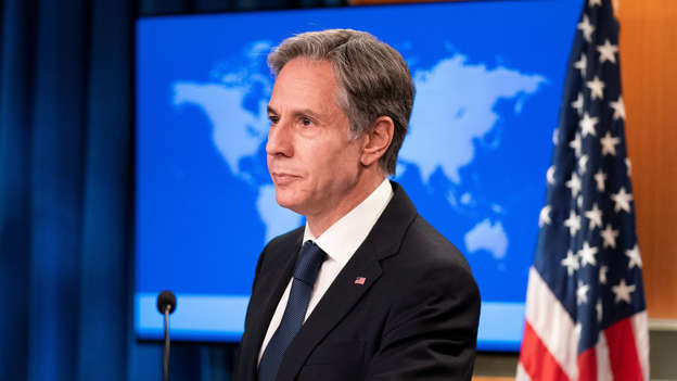 Tony Blinken wearing a suit and tie: US secretary of state Antony Blinken is in Qatar to try and evacuate more people. File pic