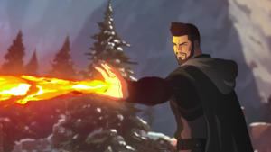 """a close up of a fire: Vesemir in """"The Witcher: Nightmare of the Wolf"""""""