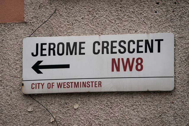 a close up of a sign: Jerome Crescent in London (Aaron Chown/PA)