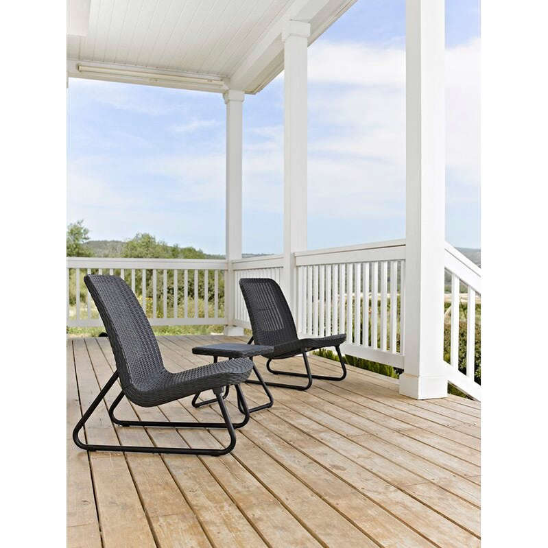 a couple of lawn chairs sitting on top of a wooden chair: Mercury Row Stickel 2 - Person Seating Group
