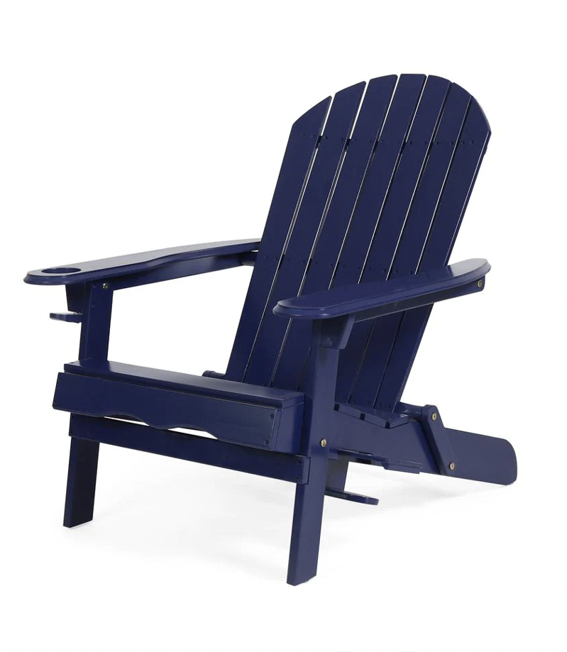 a close up of a chair:  Lissette Navy Blue Foldable Wood Adirondack Chair