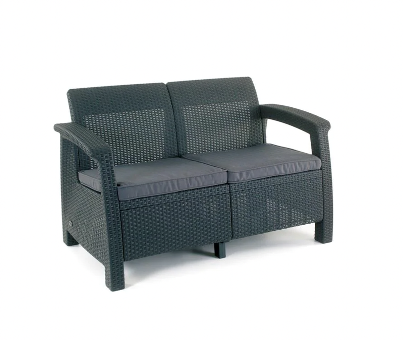 a close up of a chair: Corfu Charcoal All-Weather Resin Patio Loveseat with Grey Cushion