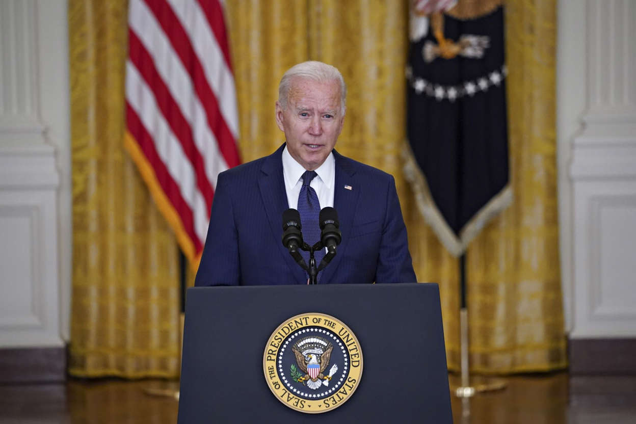 Joe Biden wearing a suit and tie: President Biden Delivers Remarks On Terror Attack At Hamid Karzai International Airport