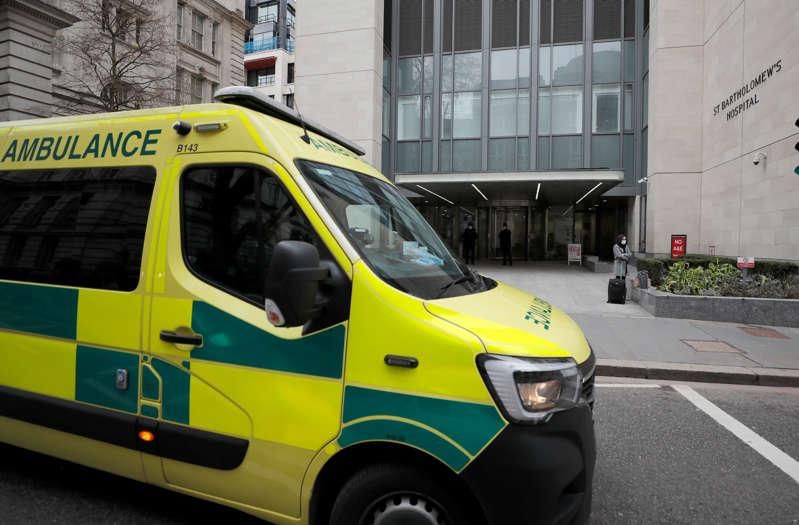 An ambulance leaves the St Bartholomew's Hospital