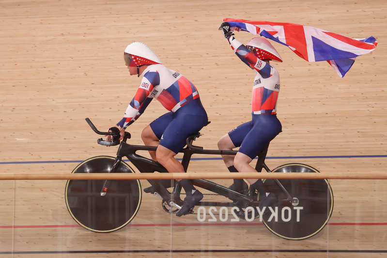 Neil Fachie and his rider Matthew Rotherham (front) celebrate their gold medal win (PA Wire via DPA) (PA Media)