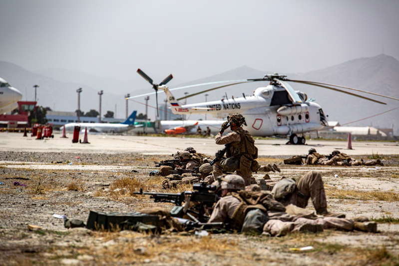 U.S. Marines keep watch