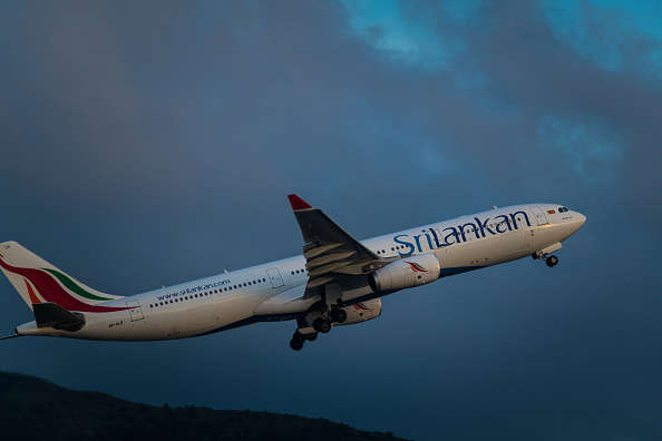 FILE - An airbus A330-300 of Sri Lankan Airlines takes off from Hong Kong International Airport in Hong Kong, China, on 19 May 2021. (Photo by Marc Fernandes/NurPhoto via Getty Images)