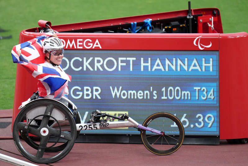 Great Britain's Hannah Cockroft poses with the score board showing her new world record time (Tim Goode/PA) (PA Wire)