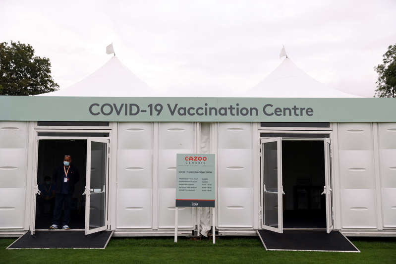 General view of a pop-up Covid-19 vaccination clinic which will be offering first and second doses of AstraZeneca and Pfizer jabs to people aged 18 and over, who are yet to be fully vaccinated during day two of the Cazoo Classic at the London Golf Club in Ash, Kent. Picture date: Friday August 13, 2021. (Photo by Steven Paston/PA Images via Getty Images)