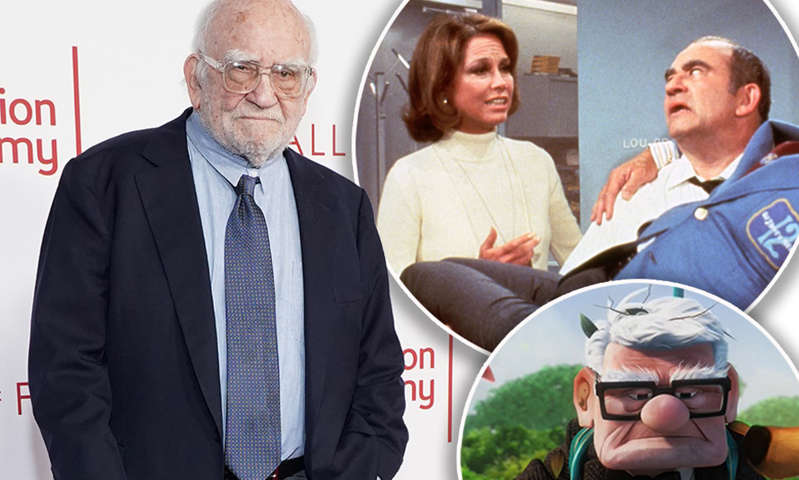 Ed Asner, Mary Tyler Moore, Jean Benguigui posing for the camera: MailOnline logo
