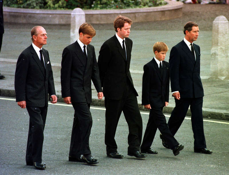 Prince Philip, Duke of Edinburgh, Prince Charles standing next to a man in a suit and tie: The day of Diana's funeral (Adam Butler/PA) (PA Archive)