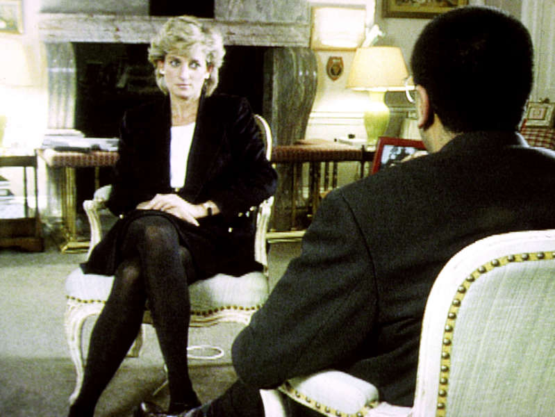 Diana, Princess of Wales et al. sitting on a chair: Diana during her Panorama interview with Martin Bashir (BBC/PA) (PA Archive)