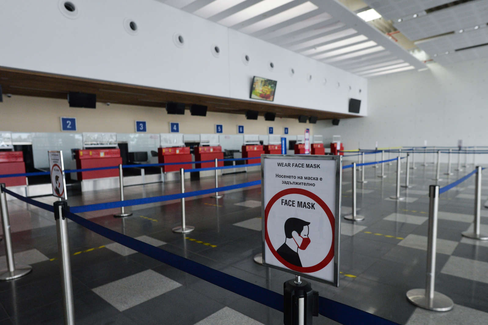 FILE - A view of an empty check-in departures hall in Burgas Airport on October 17, 2020, in Sarafovo, Bulgaria.
