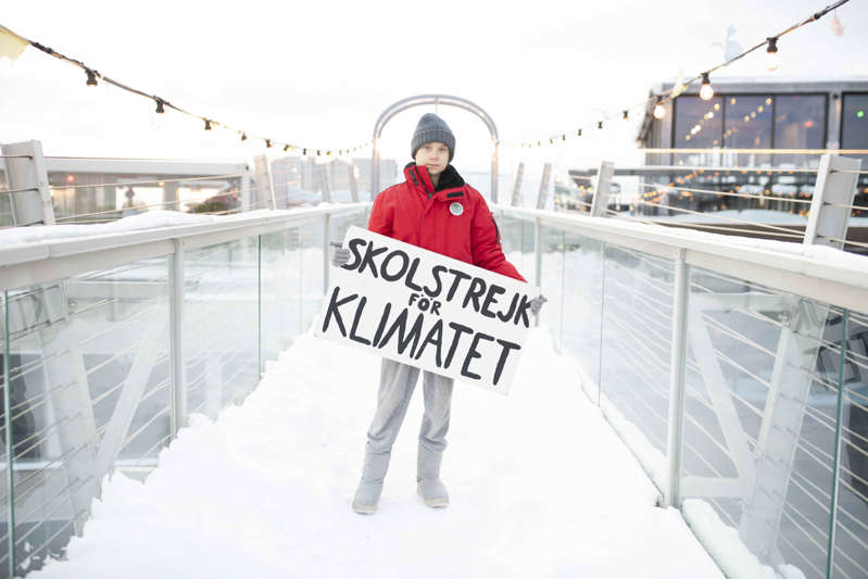 a man that is standing in the snow: Greta Thunberg led global school strikes for climate change (Banfa Jawla/PA) (PA Media)
